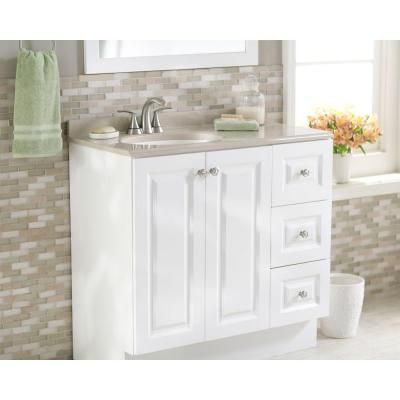 Glacier Bay Bannister 36 5 in  W Vanity in White with Colorpoint Vanity Top  in Cappuccino. Glacier Bay Bannister 36 5 in  W Vanity in White with Colorpoint