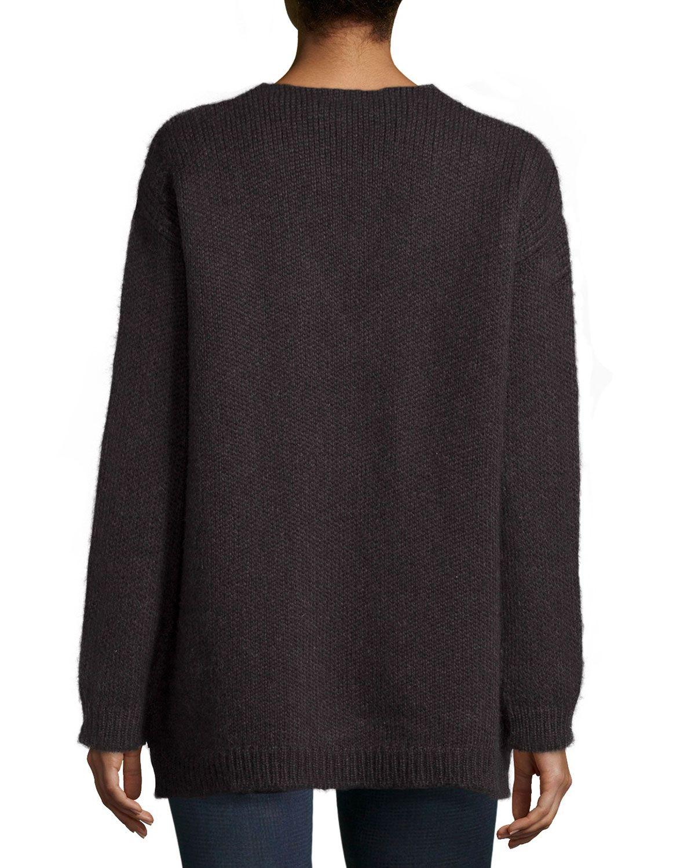V-Neck Alpaca Knit Pullover, Charcoal