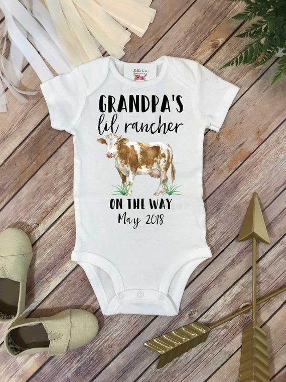 8a71f4d88 Farm Help on the Way, Pregnancy Announcement, Grandpa's Lil Rancher, Pregnancy  Reveal, Cow shirt, Co