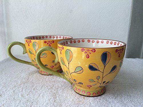S/2 Dutch Wax 14-oz Hand Painted Ceramic Mug, Sunny Beautiful Artistic Eye Candy…