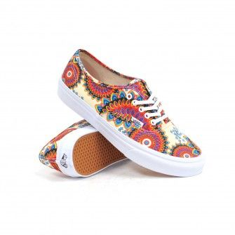 0566b900de Vans Authentic Slim (Geo Floral Magenta True White) Women s Shoes  54.99