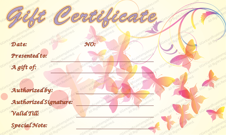 Butterflies Art Gift Certificate Template Gift Certificate Template Gift Certificates Certificate Templates