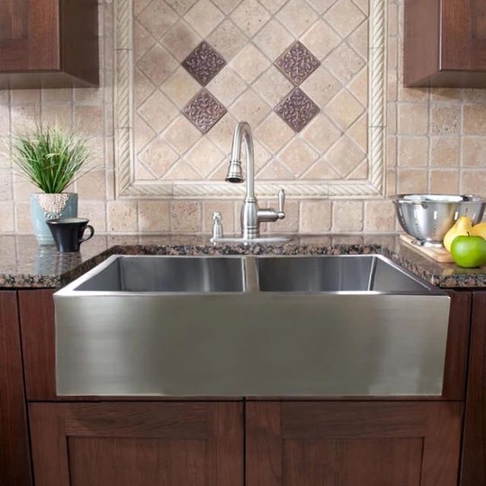 33 Leyden Stainless Steel Double Bowl Farmhouse Sink Stainless