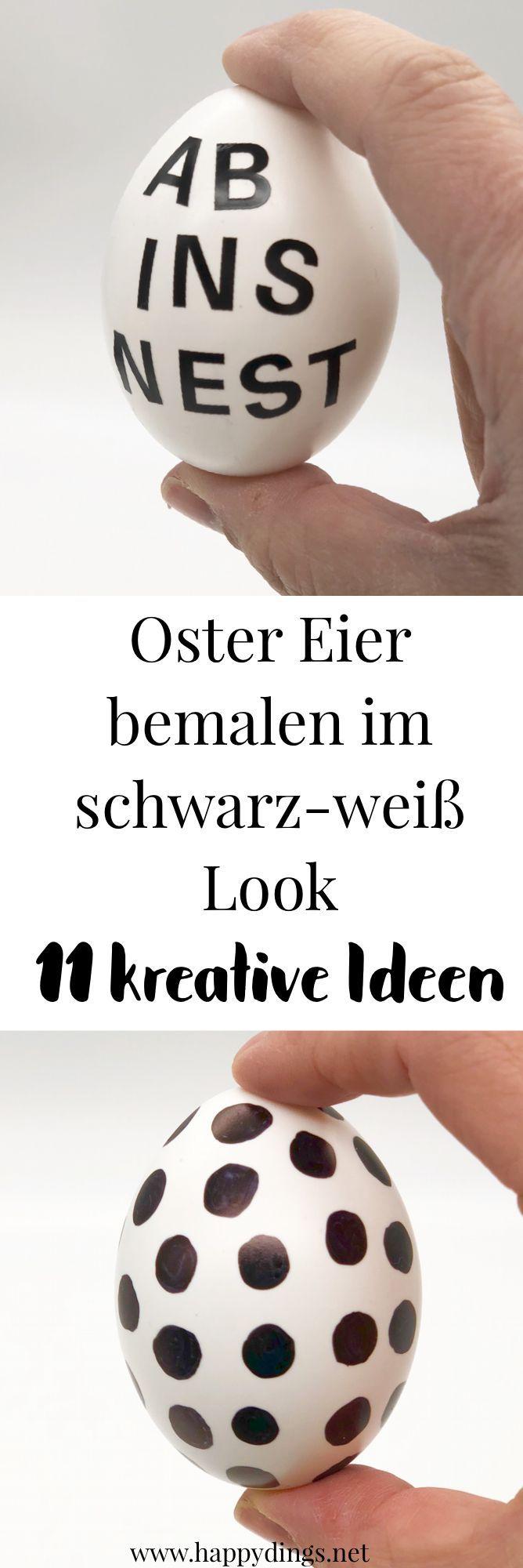 Osterdeko selber machen - Ostereier bemalen in schwarz-weiß  - We ♥ Osterdekoration -