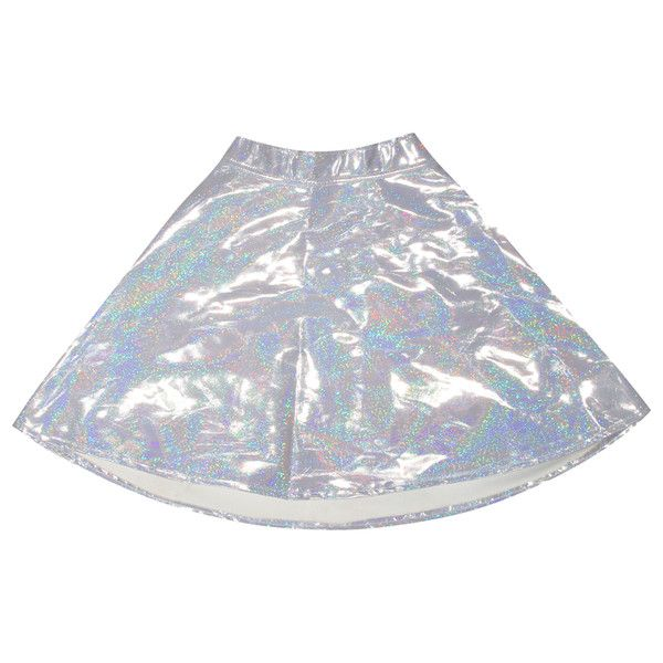 O-Mighty HOLOGRAM SKIRT at Shop Jeen | SHOP JEEN (78 AUD) ❤ liked on Polyvore featuring skirts, bottoms, holographic, skater skirt, hologram skater skirt, circle skirt, holographic skater skirt and flared skirt