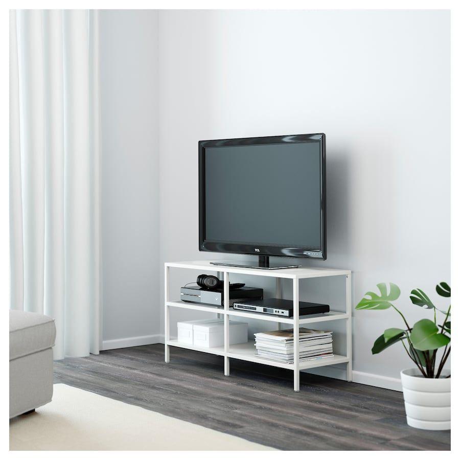 Vittsjo Tv Unit White Glass 39 3 8x14 1 8x20 7 8 Porta Tv