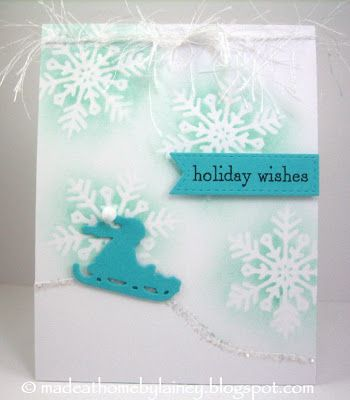 """STAMPS:  PTI Christmas Critters Sentiments PAPER:  PTI White Stampers Select, Hawaiian Shores  INK:  PTI Aqua Mist, Smokey Shadow DIES:  PTI Phrase Play #9, In The Meadow; Lil Inker Designs Stitched Flag; MFT Snow Drifts OTHER:  Glitter; Fun Fur; Fun Foam, Pompom Size:  4.25"""" x 5.5"""""""