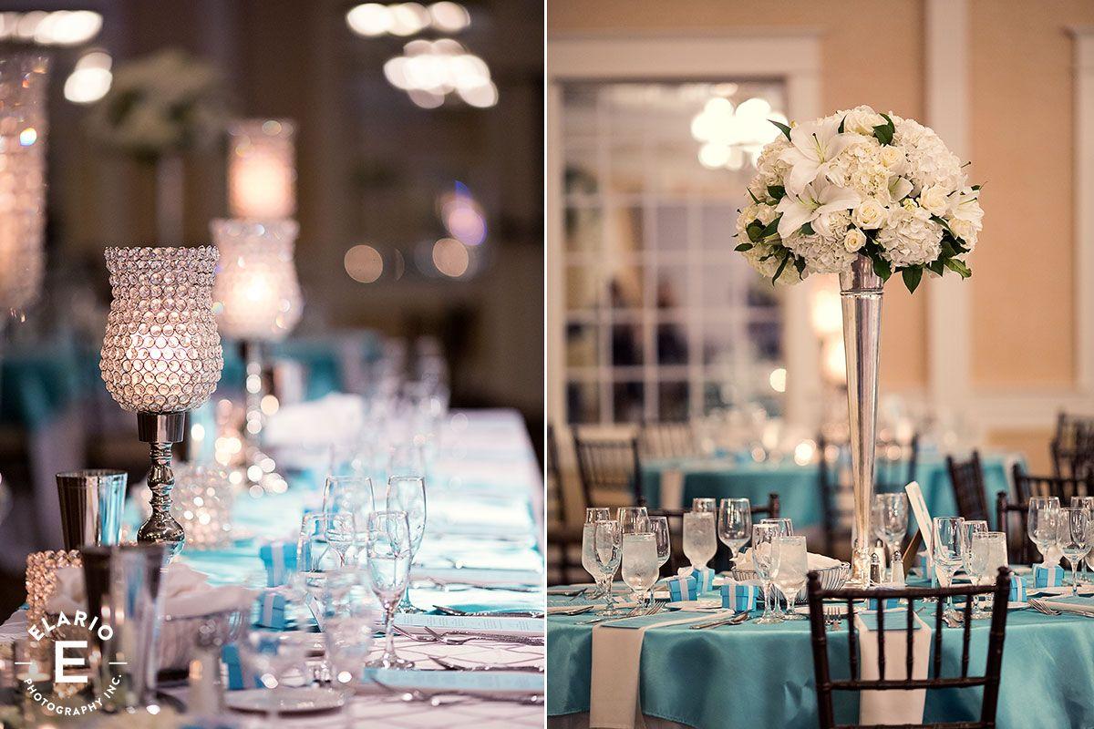 tiffany blue decor, silver decor #whiteflowers #allwhite #lilies #fleurtaciousdesigns - Elario Photography