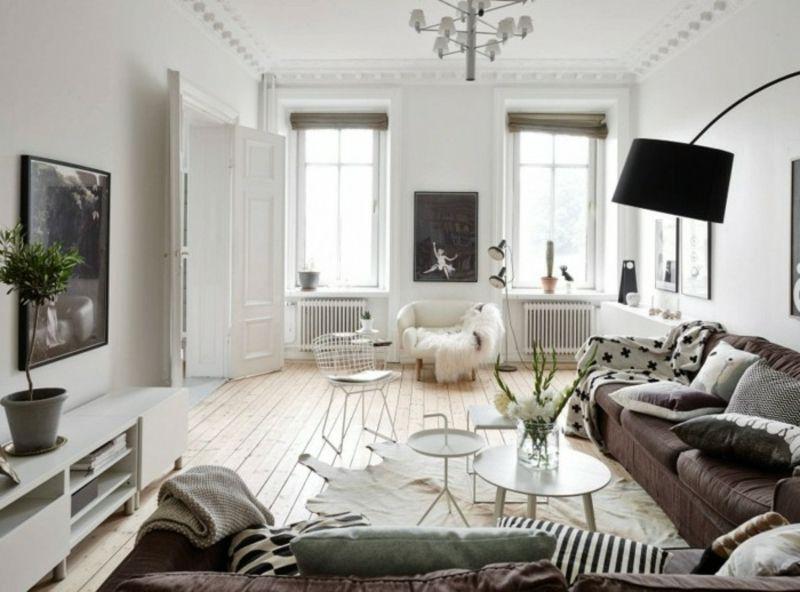 Modernes Wohnzimmer Neutrale Farbgestaltung Skandinavischer Stil