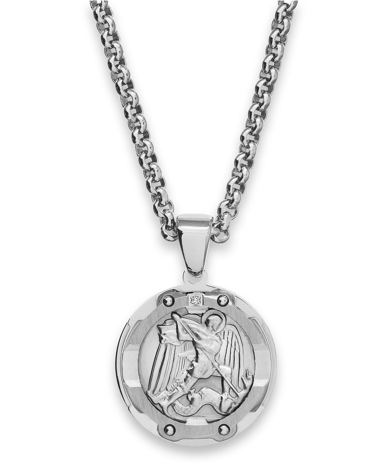 sterling medal michael pendant s jewelry silver st michaels com men collection mm store necklace dp private amazon the