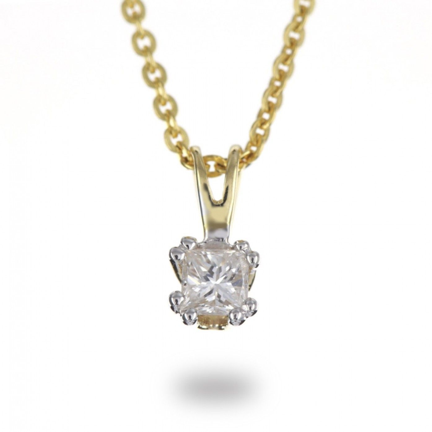 Solitaire ct double claw princess diamond pendant in k yellow