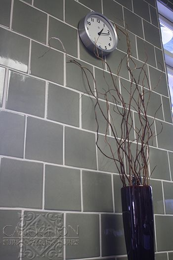Full Height Kitchen Wall Tile In Handmade Ceramic Staggered