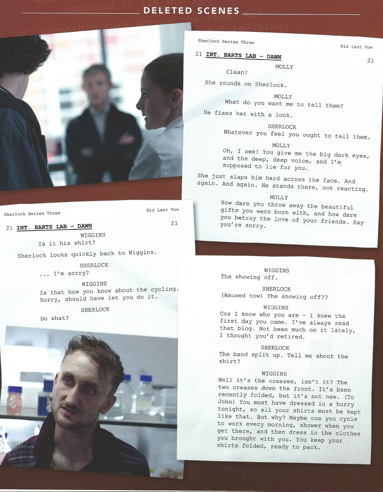 His Last Vow  Script pages for some of this episode's