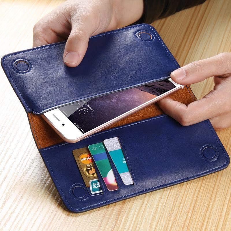 5.5 universele lederen flip mobiele telefoon portemonnee pouch voor galaxy s4 Mini J1 S6 S7 Edge A3 A5 Core Prime 7 Plus Telefoon Case