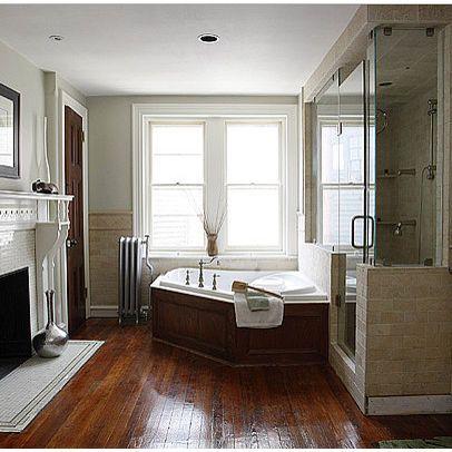 light walls wood floor | hardwood floors in bathroom