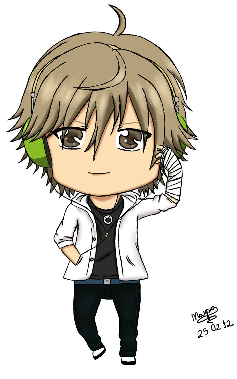 Pix For > Chibi Boy With Headphones Chibi boy