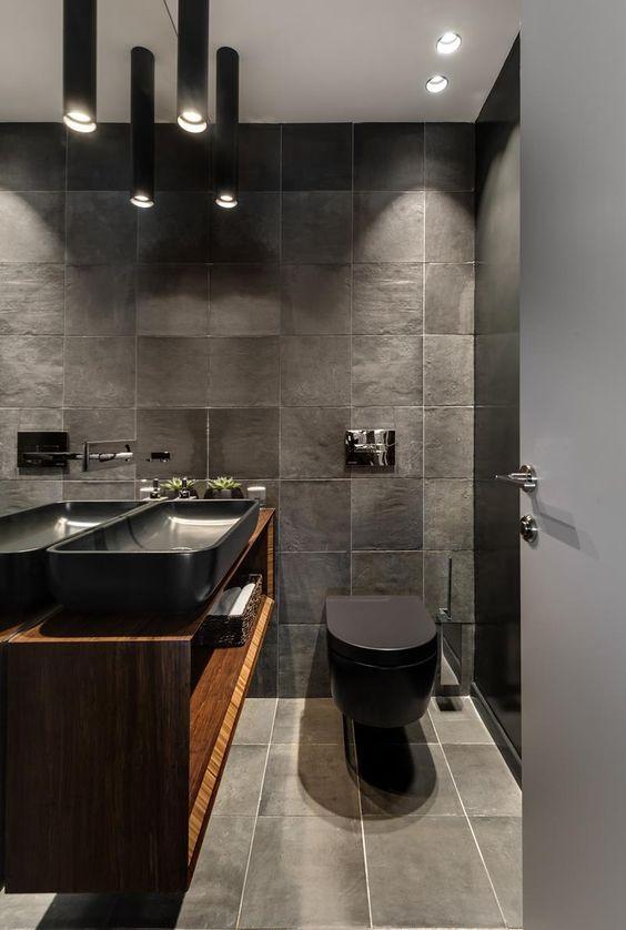 10 Ideias De Banheiros Nos Tons Cinza E Preto Decora 231 227 O