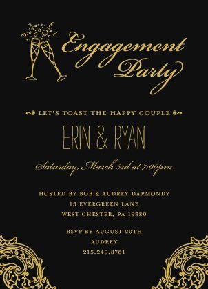 evening soiree engagement party invitation timeless romance