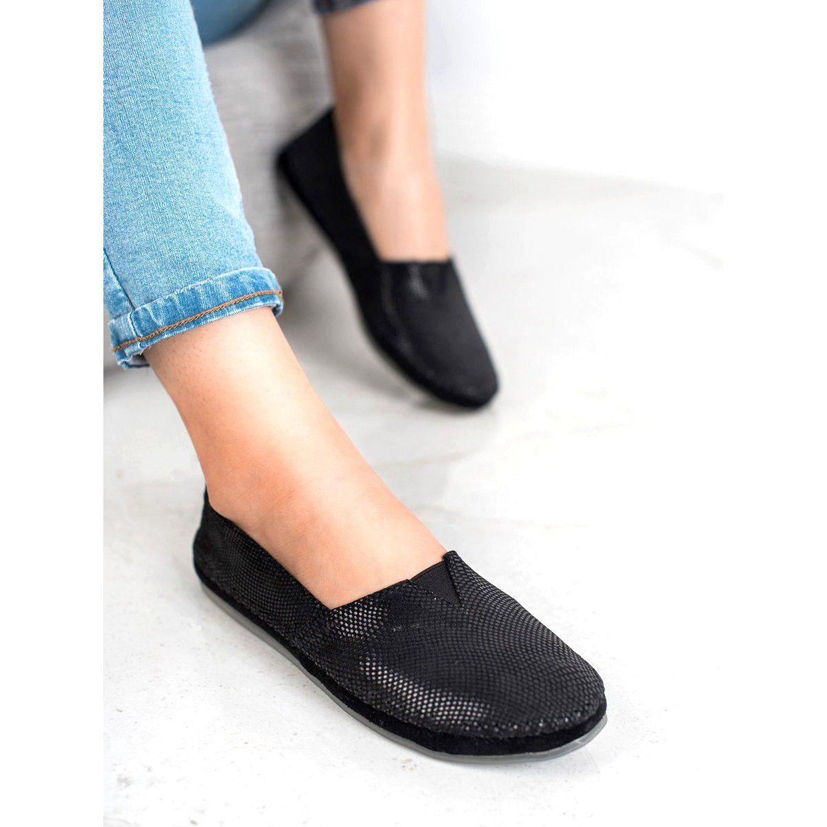 Filippo Czarne Skorzane Trampki Slip Shoes Women Heels Black Leather Sneakers Women Shoes