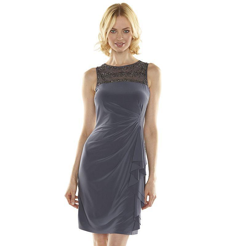 kohl's. dresses in dark grey | Jessica Howard Beaded Illusion Sheath Dress - Women's