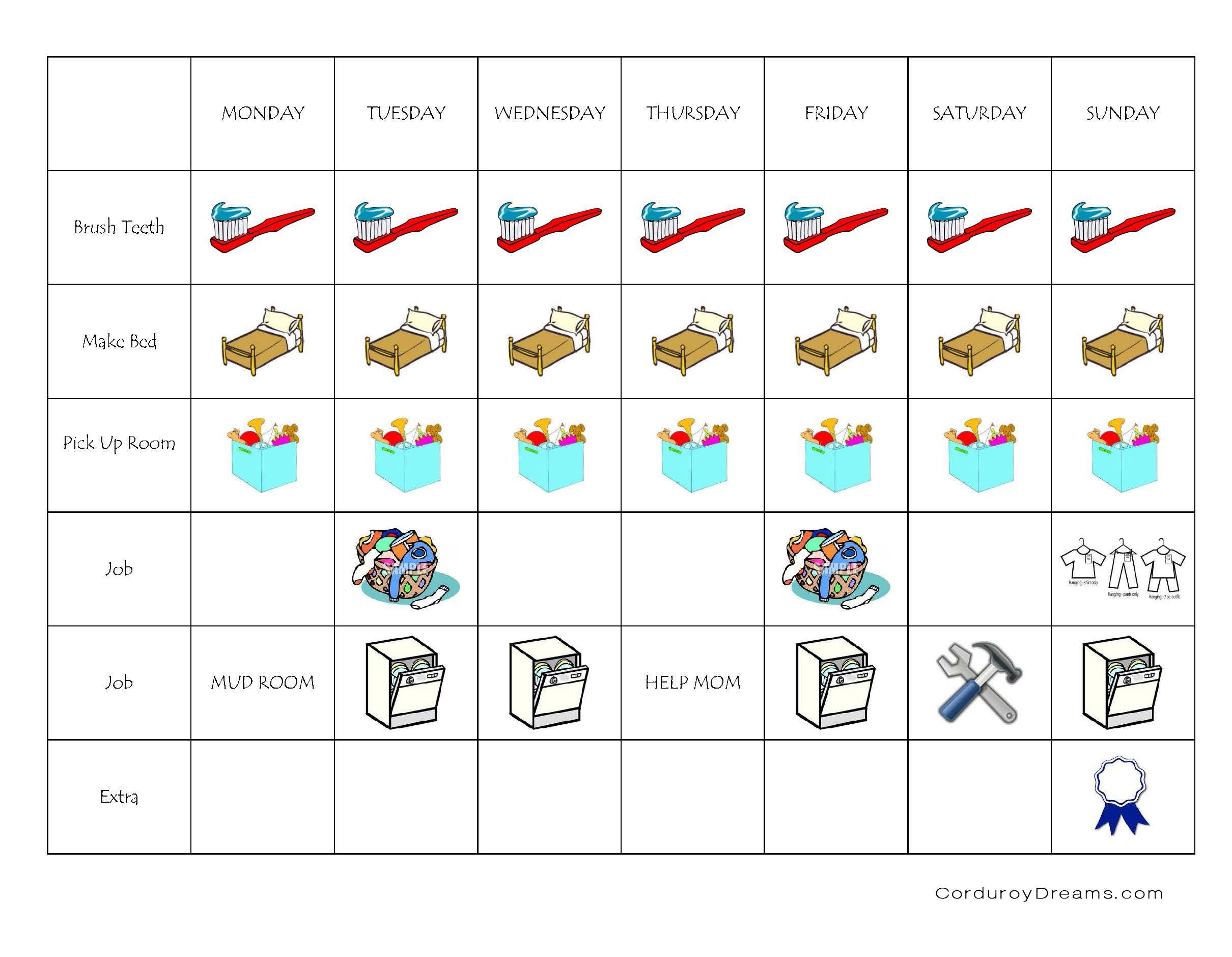 Printable Job Charts Via Corduroydreams