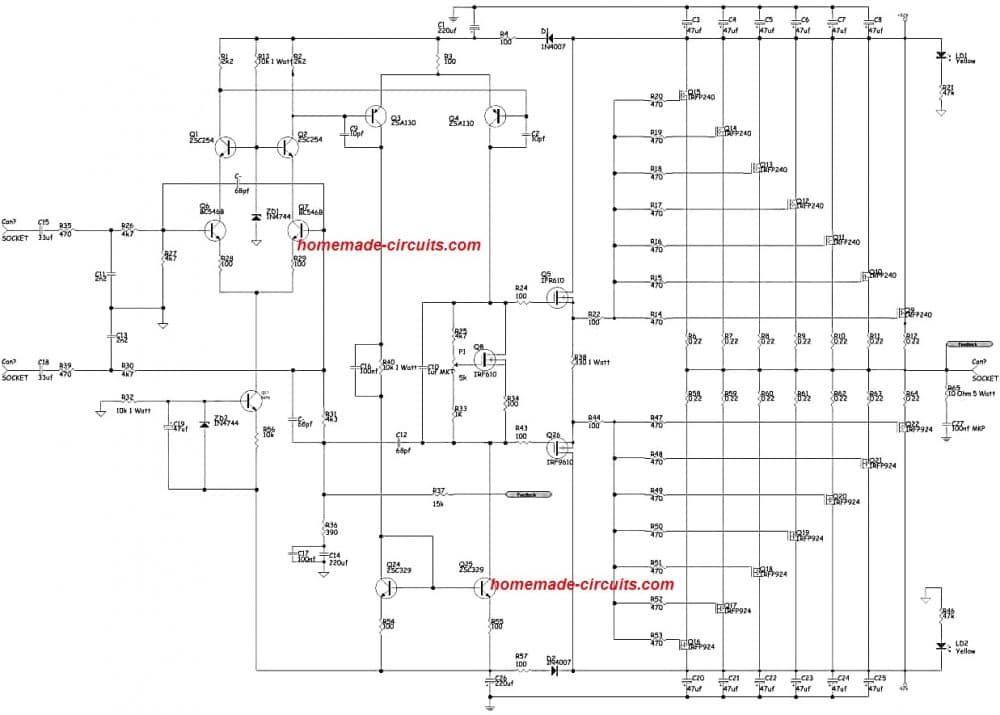 1000 Watt To 2000 Watt Power Amplifier Circuit In 2020 Power Amplifiers Amplifier Circuit Diagram