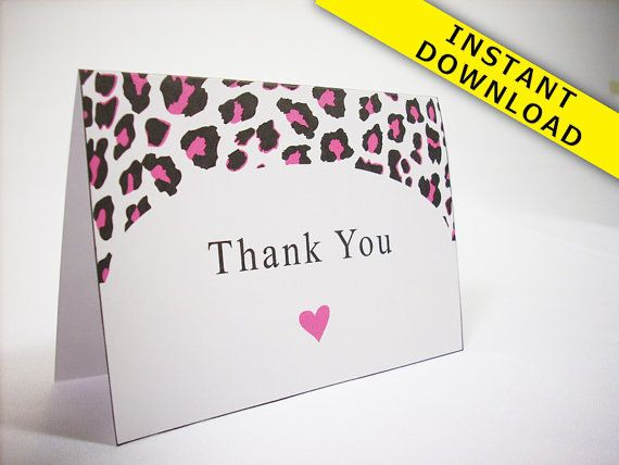Hot Pink Cheetah Thank You Card Template Instant by sparksdecor - thank you card template