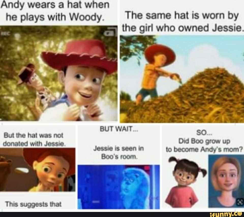 He plays with Woody. The same hat is worn by the girl who ...