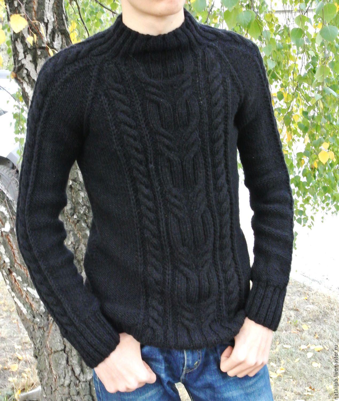 Купить Мужской свитер со жгутом - черный, свитер, мужской, уютный, теплый, стильный, вязание