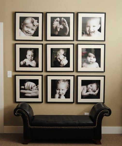 photo wall inspiration.  I like the idea of keeping all of the frames the same size.