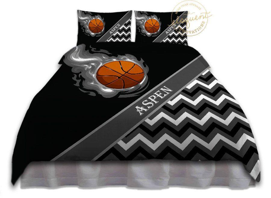 Basketball Bedding For Boys Comforter Grey Black White Etsy