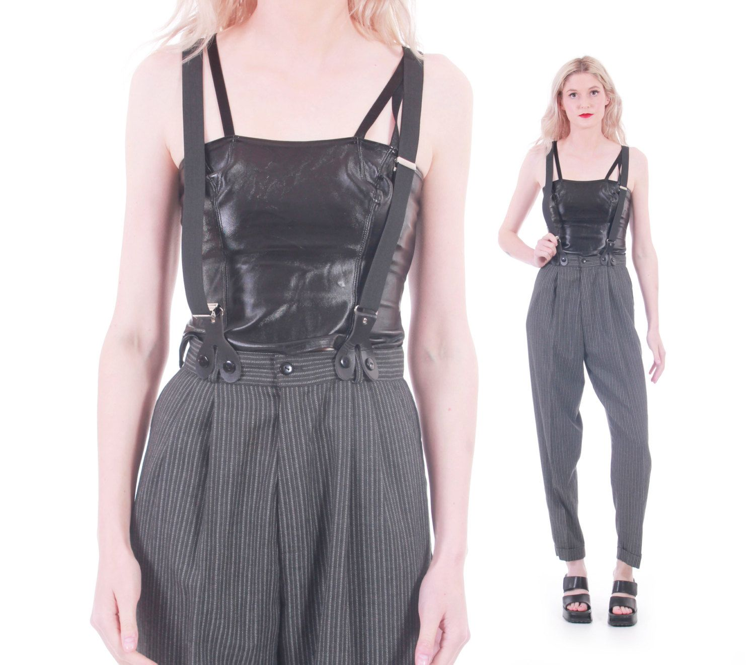 90s Vintage High Waisted Trousers Suspenders Gray Black Striped ...