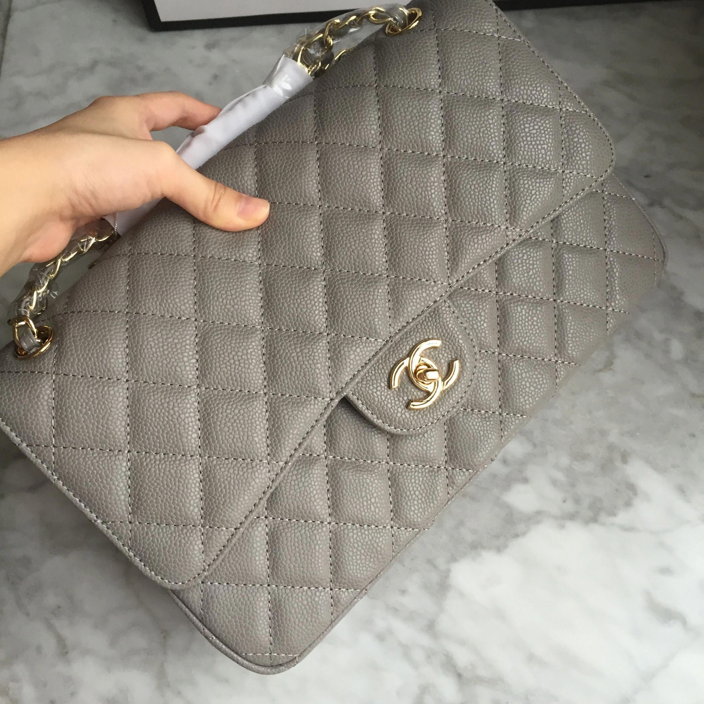 3755e6ca3bc3 Chanel woman 2.55 double flap bag caviar gray gold jumbo size  #WomensShoulderbags