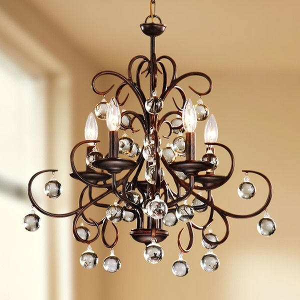 Wrought iron and crystal 5 light chandelier overstock shopping wrought iron and crystal 5 light chandelier overstock shopping the best aloadofball Images