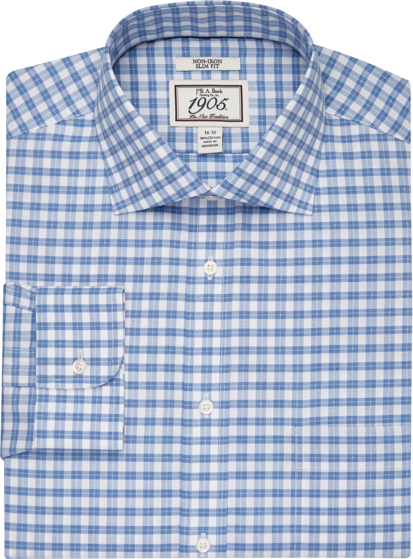 66dfcfe2e6951 1905 Collection Slim Fit Cutaway Collar Plaid Dress Shirt - Big   Tall