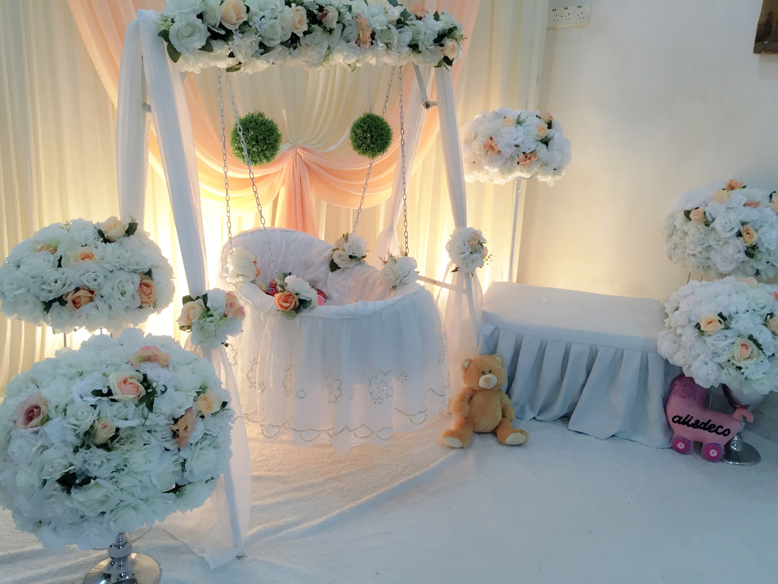Decoration baby cradle for naming ceremony pelamin buaian for Baby name ceremony decoration