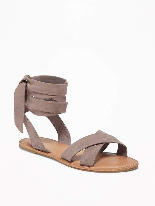 72038ea7a27bc7 Old Navy Sueded Ankle-Tie Sandals for Women  womens