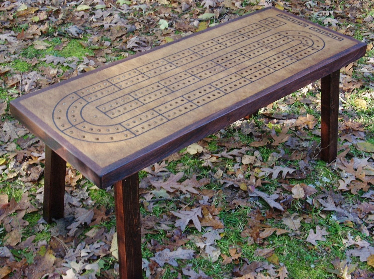 Cribbage Board Table With Accent Border