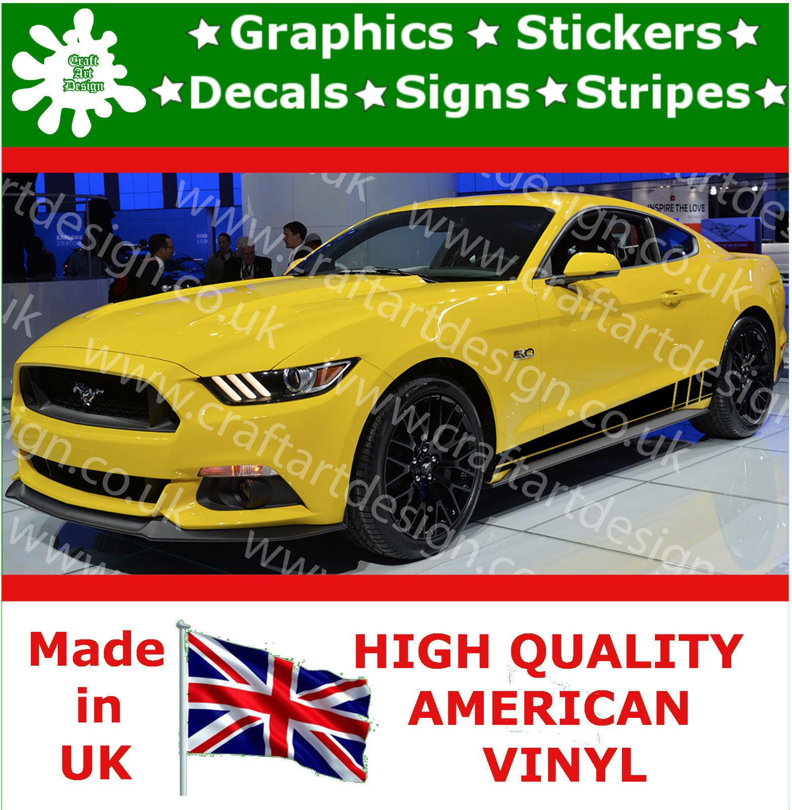 Details About Ford Mustang Large Side Racing Stripe Kit Car - Vinyl decals for race cars
