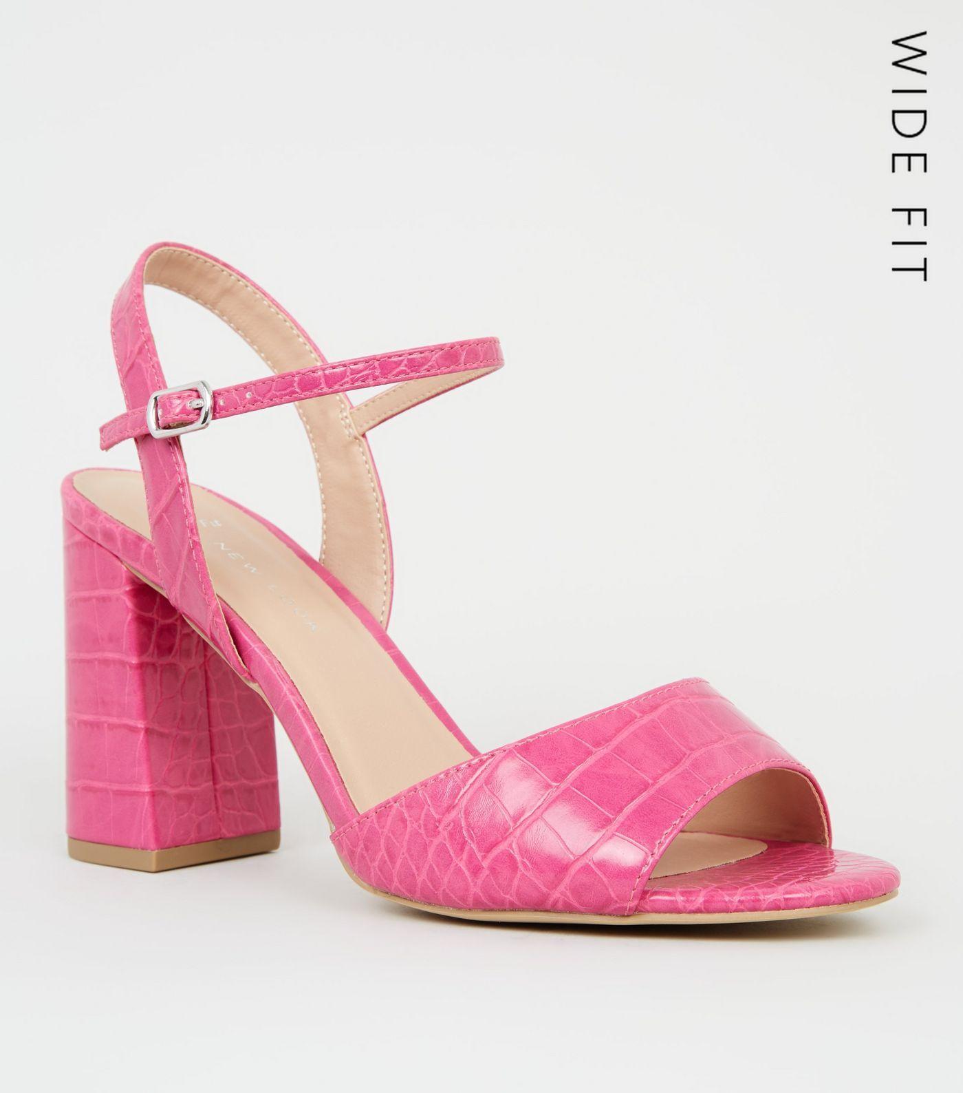 Wide Fit Bright Pink Faux Croc Block