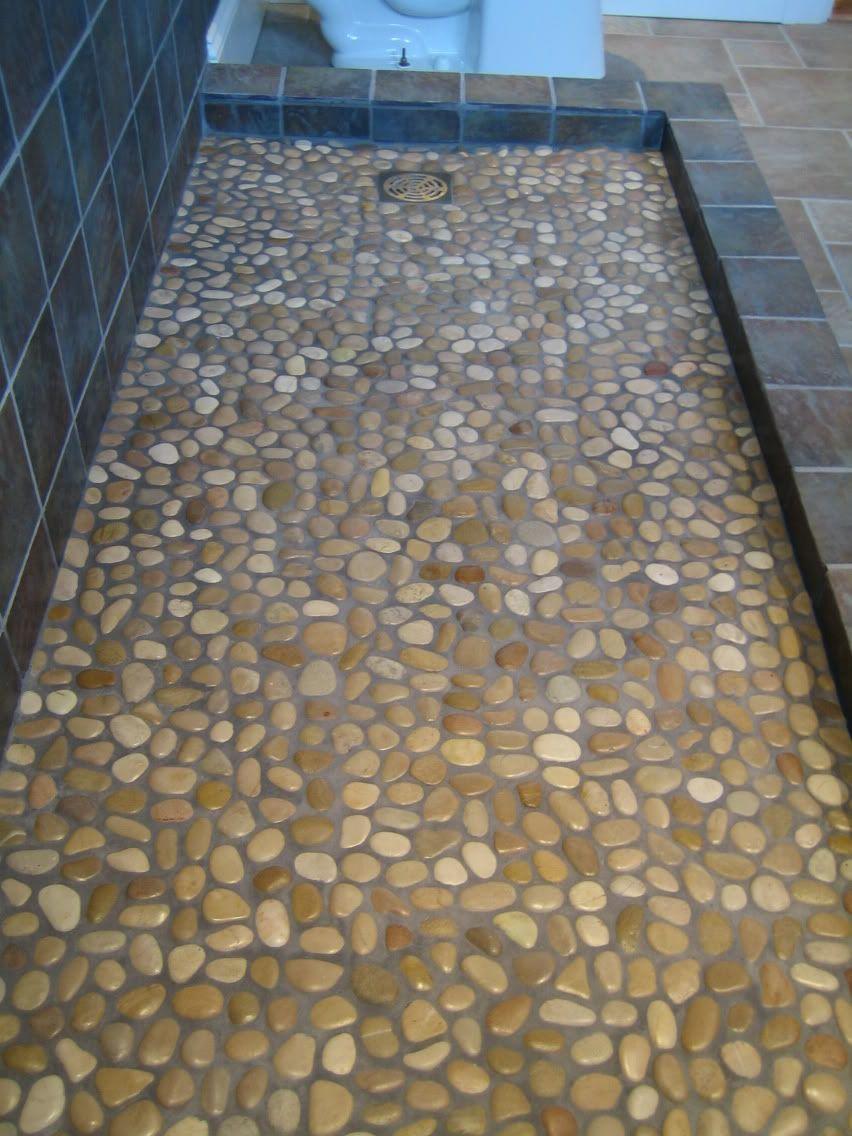 Web Photo Gallery Gray Rock River Mosaic Shower Floor Tile For Artless Bathroom Designs