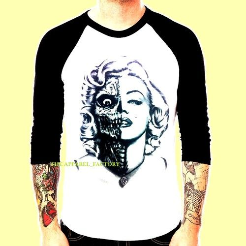 aebd28f84 Men s Marilyn Monroe Skull Baseball T Shirt Raglan Weed California CA  Diamond