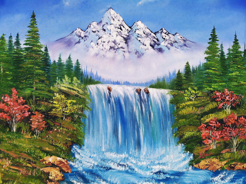 Waterfall Canvas Art Mountain River Landscape Snow Mountain Waterfall Painting Mountain Canvas Landscape Painting Oil Original W Gornyj Pejzazh Pejzazhi Vodopady