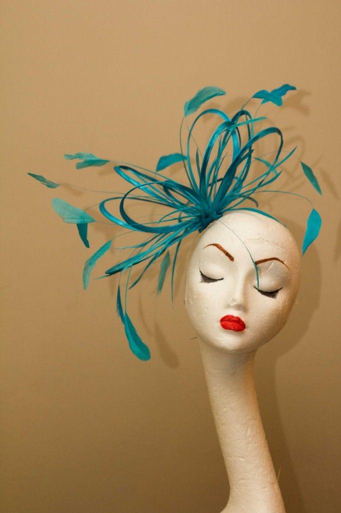 New Turquoise Loop Feather Fascinator Hat Wedding Races | eBay