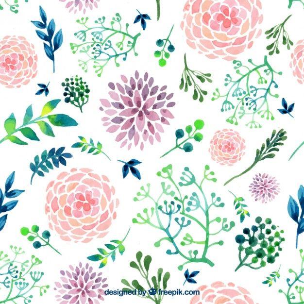 Hand gemalten Blumen Kostenlose Vektoren   aquarell   Pinterest ...