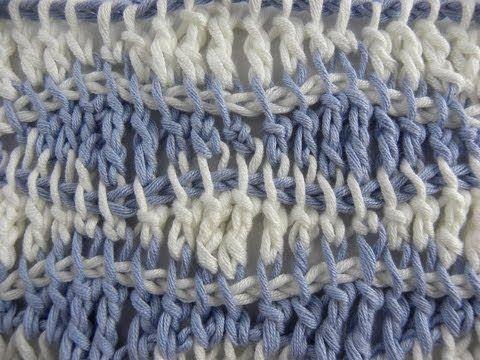 Tunesisch Häkeln - Wellenmuster im Grundstich | tunisian crochet ...