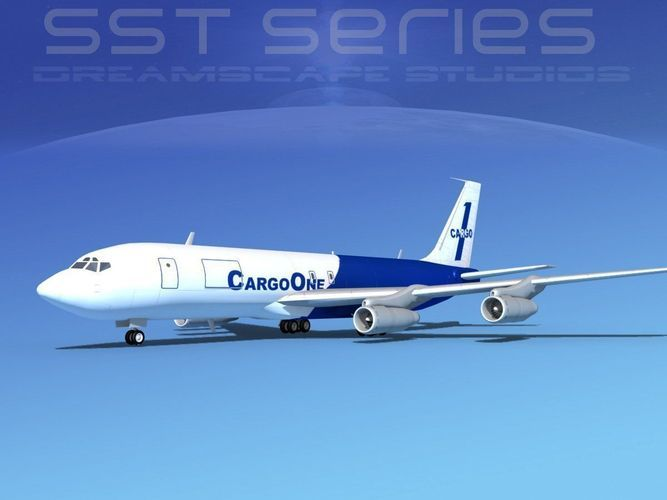 boeing 707-320 ss cargo one 3d model rigged max 3ds lwo lw lws dxf dae dwg 1
