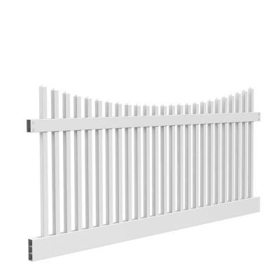 Veranda 4 ft. x 8 ft. Yukon Scallop White Fence Panel-73011753 at The Home Depot