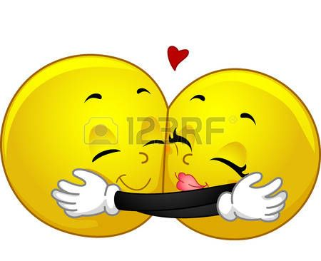 Mascot Illustration eines Paares von Smileys Hugging photo