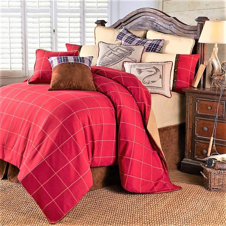 southern heaven lodge bedding red luxury comforter set